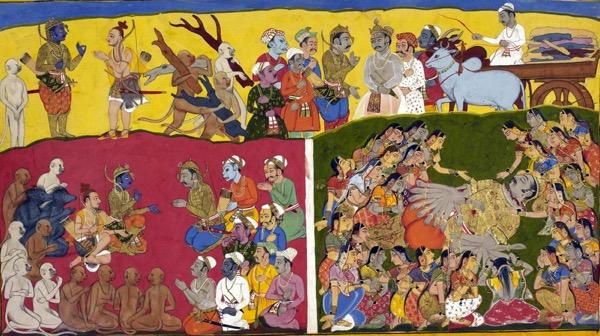Подготовка к кремации Раваны. Справа внизу жены Раваны оплакивают его, Мандодари сидит внизу спиной, распуская как вдова свои волосы.